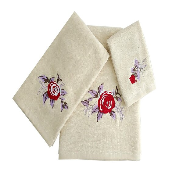 Ryann Roses 3 Piece 100% Cotton Towel Set by August Grove